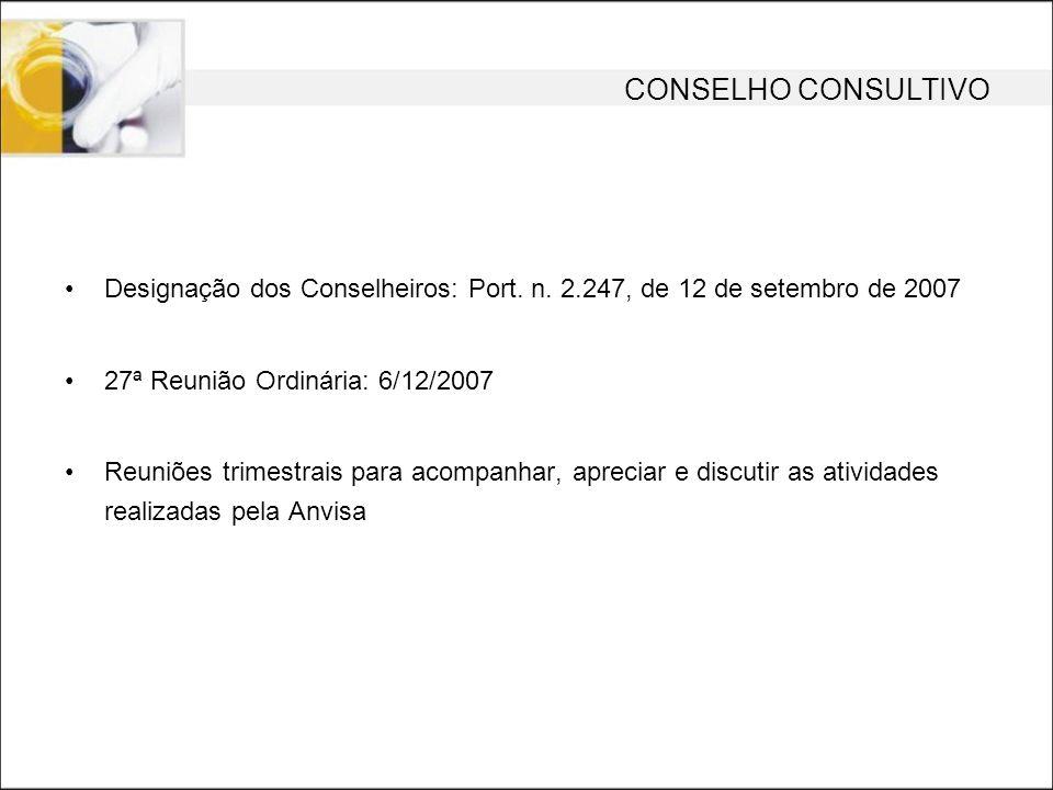 CONSELHO CONSULTIVO Designação dos Conselheiros: Port. n. 2.247, de 12 de setembro de 2007 27ª Reunião Ordinária: 6/12/2007 Reuniões trimestrais para