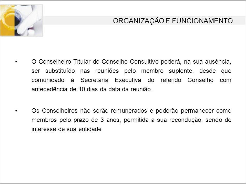 O Conselheiro Titular do Conselho Consultivo poderá, na sua ausência, ser substituído nas reuniões pelo membro suplente, desde que comunicado à Secret