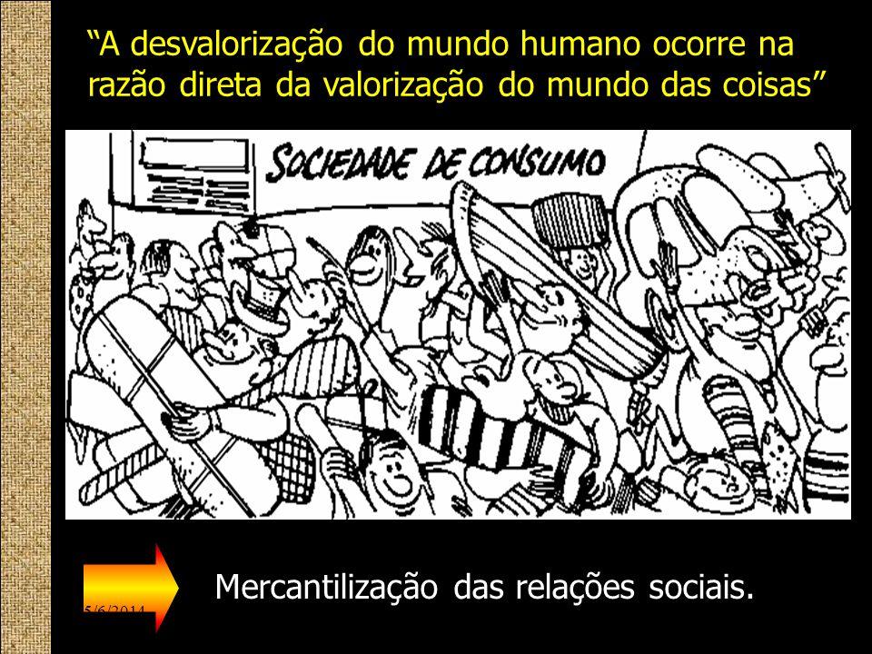 SER TER A desvalorização do mundo humano ocorre na razão direta da valorização do mundo das coisas Mercantilização das relações sociais. 15/6/201411ww