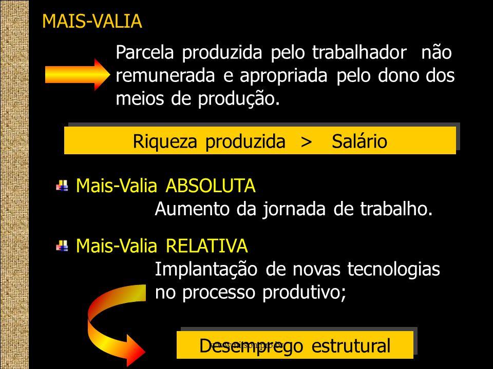 MAIS-VALIA Parcela produzida pelo trabalhador não remunerada e apropriada pelo dono dos meios de produção. Riqueza produzida > Salário Mais-Valia ABSO