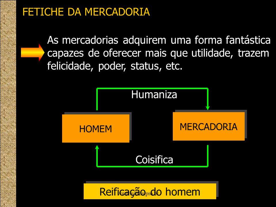 FETICHE DA MERCADORIA HOMEM MERCADORIA Humaniza Coisifica Reificação do homem As mercadorias adquirem uma forma fantástica capazes de oferecer mais qu