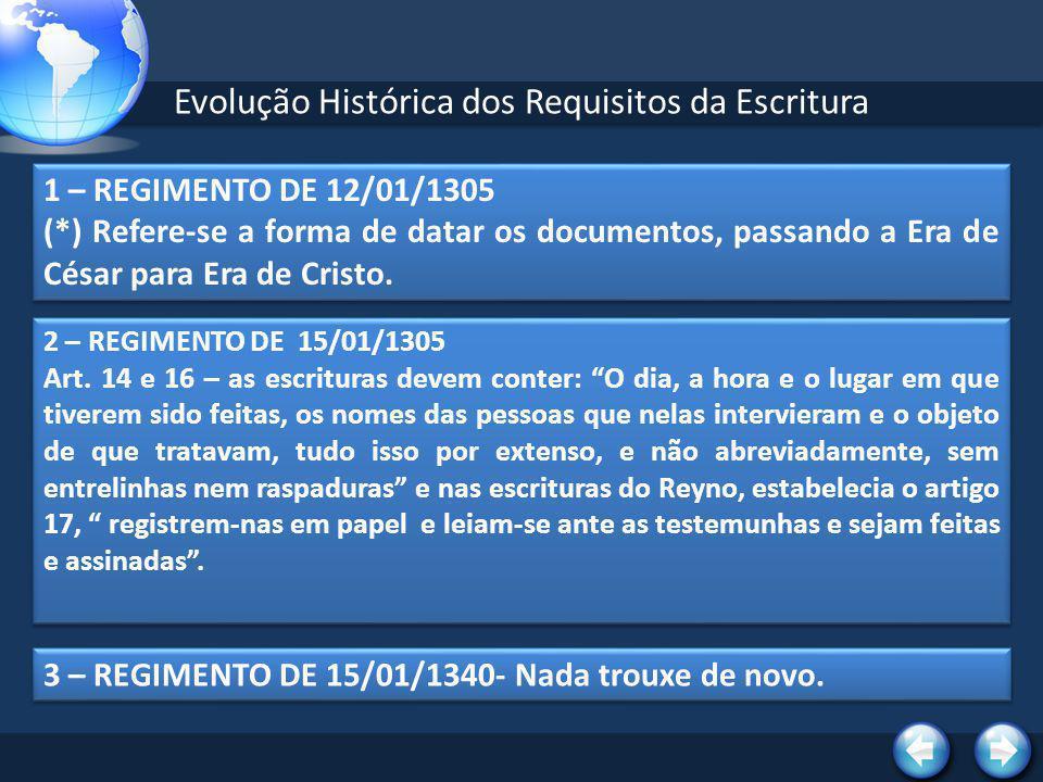Evolução Histórica dos Requisitos da Escritura 4 – ORDENAÇÕES AFONSINAS DE 1445- TÍTULO XLVII DO LIVRO II Reproduz o Regimento de 15/01/1305, introduzindo o Livro de Protocolo.