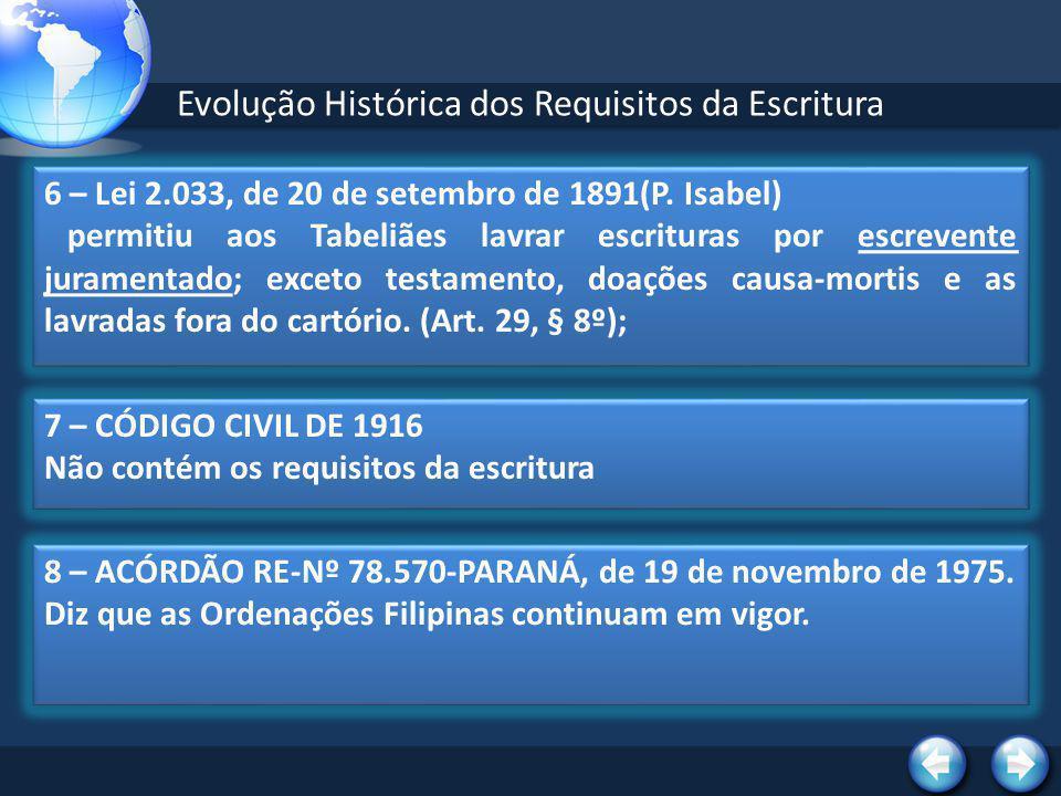Evolução Histórica dos Requisitos da Escritura 10 – NOVO CÓDIGO CIVIL (LEI 10.406, de 10.1.2002) No artigo 215 traz os requisitos da escritura pública.