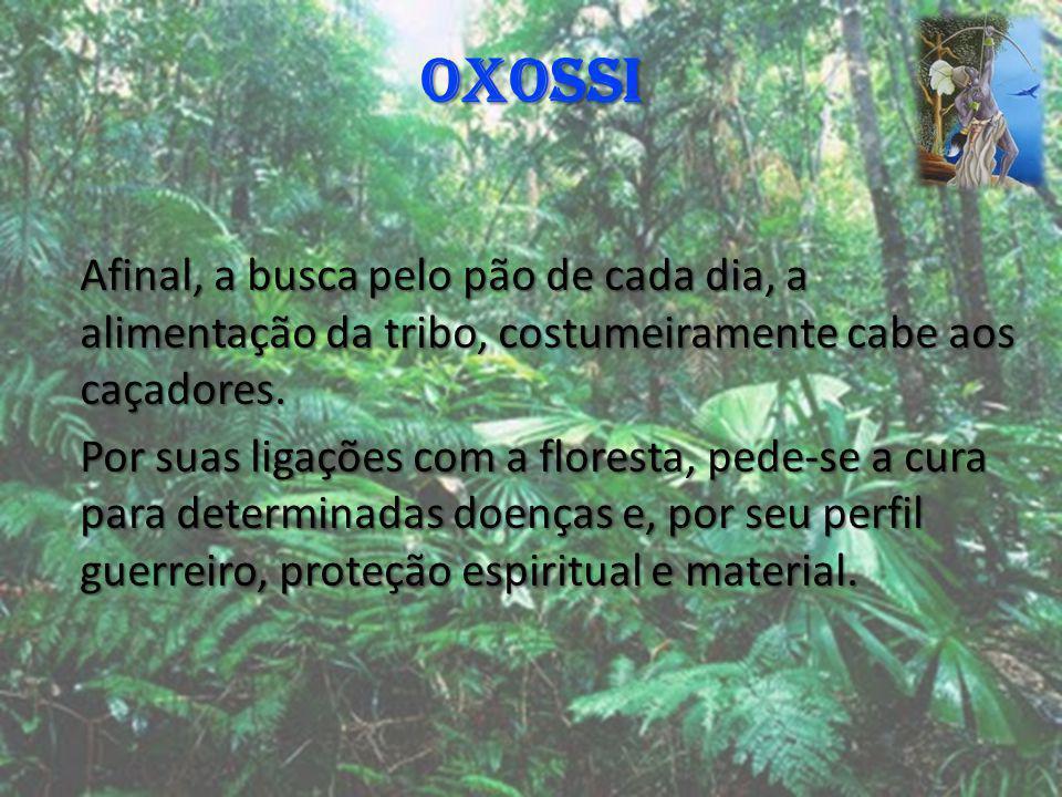 OXOSSI Afinal, a busca pelo pão de cada dia, a alimentação da tribo, costumeiramente cabe aos caçadores. Por suas ligações com a floresta, pede-se a c