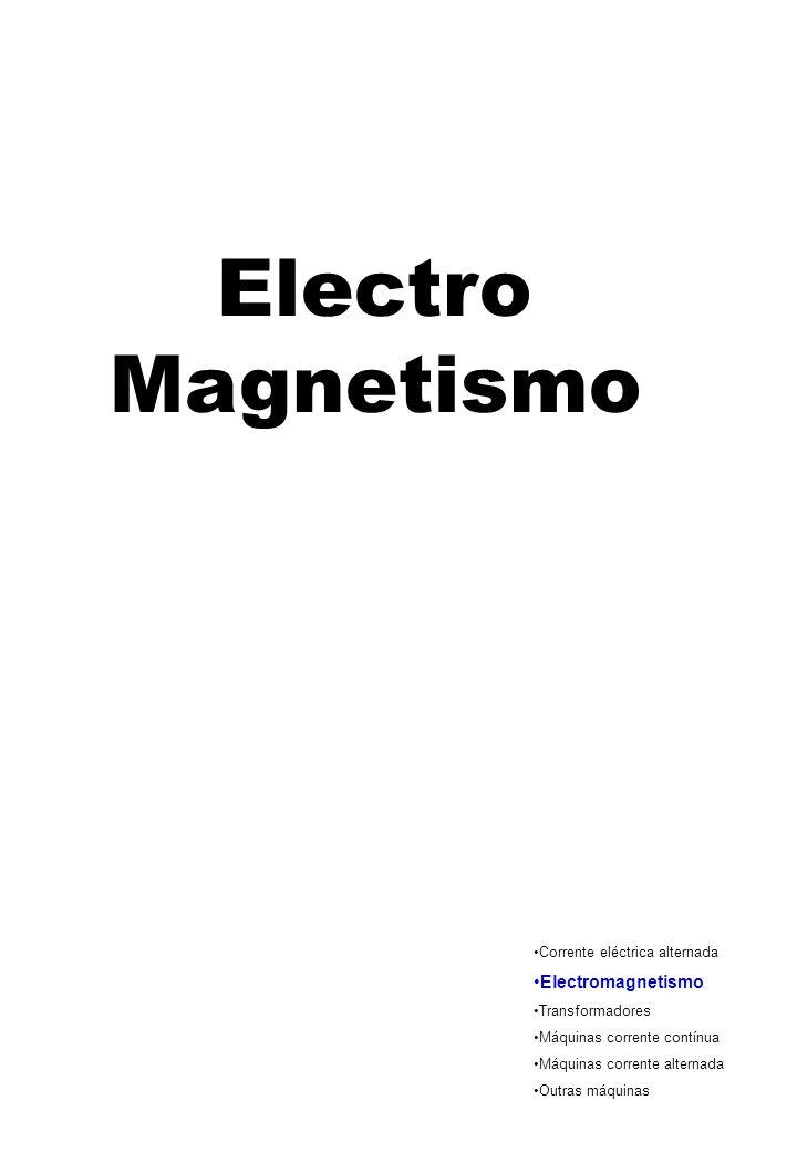 Electro Magnetismo Corrente eléctrica alternada Electromagnetismo Transformadores Máquinas corrente contínua Máquinas corrente alternada Outras máquin