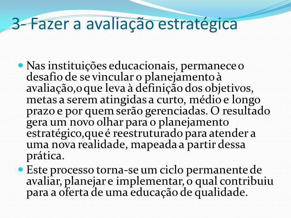 3- Fazer a avaliação estratégica Nas instituições educacionais, permanece o desafio de se vincular o planejamento à avaliação,o que leva à definição dos objetivos, metas a serem atingidas a curto, médio e longo prazo e por quem serão gerenciadas.
