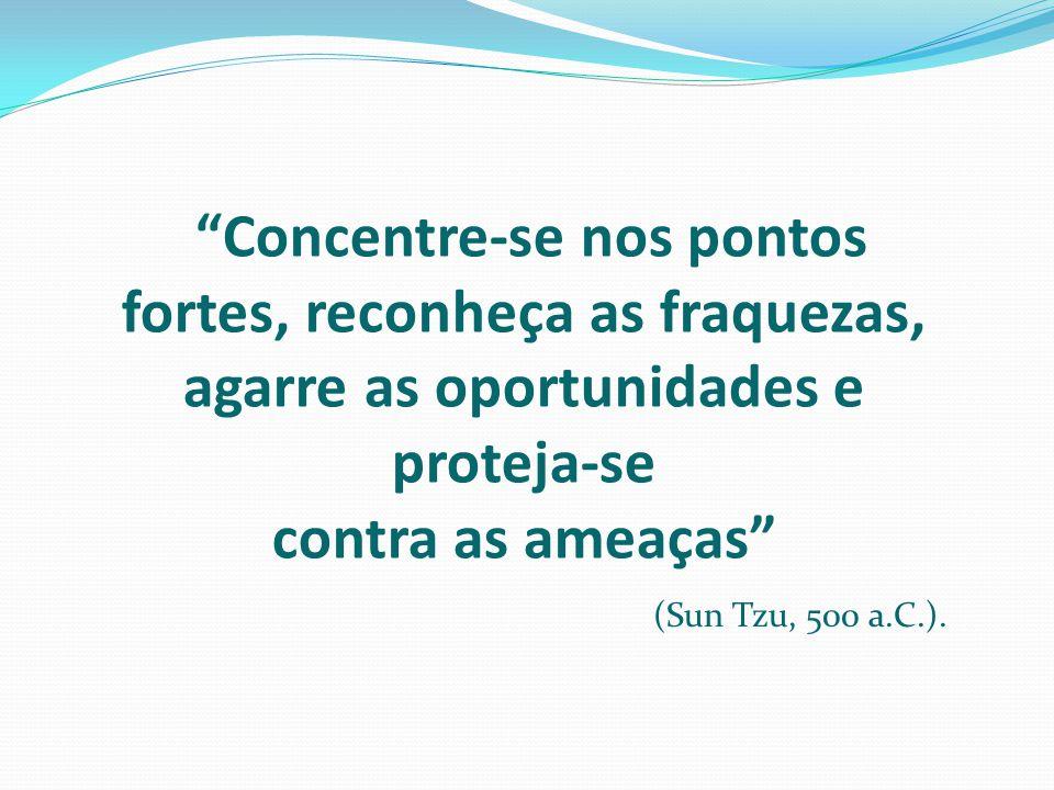 Concentre-se nos pontos fortes, reconheça as fraquezas, agarre as oportunidades e proteja-se contra as ameaças (Sun Tzu, 500 a.C.).