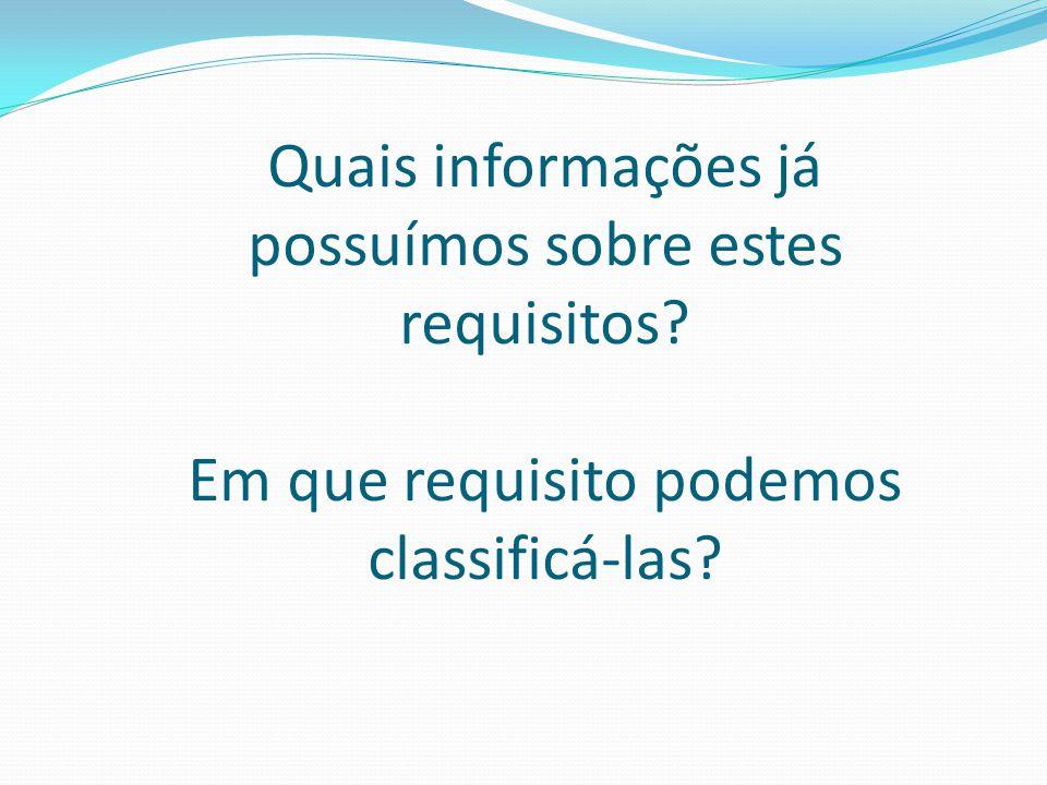 Quais informações já possuímos sobre estes requisitos? Em que requisito podemos classificá-las?