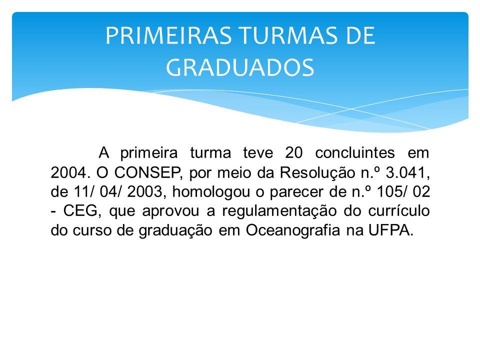 A primeira turma teve 20 concluintes em 2004. O CONSEP, por meio da Resolução n.º 3.041, de 11/ 04/ 2003, homologou o parecer de n.º 105/ 02 - CEG, qu