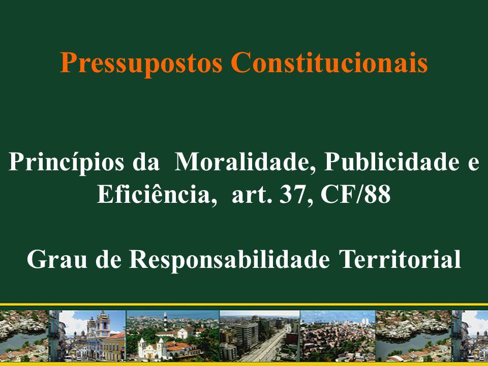Pressupostos Constitucionais Princípios da Moralidade, Publicidade e Eficiência, art. 37, CF/88 Grau de Responsabilidade Territorial