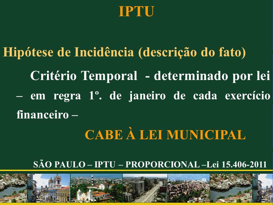 IPTU Hipótese de Incidência (descrição do fato) Critério Temporal - determinado por lei – em regra 1º. de janeiro de cada exercício financeiro – CABE