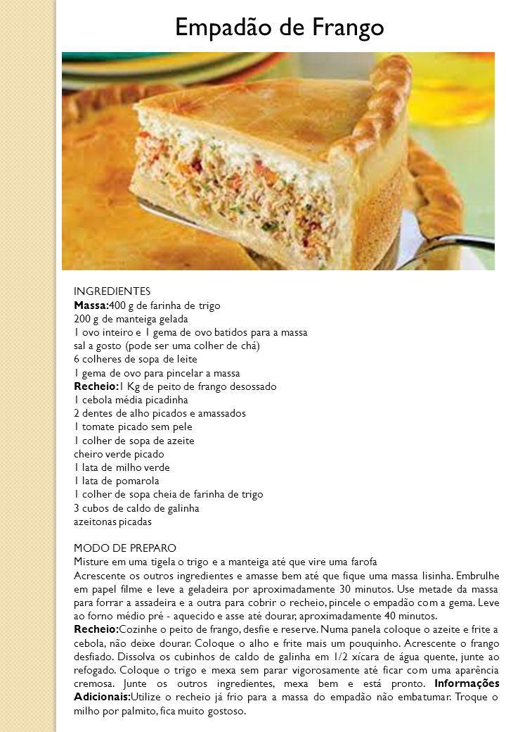 INGREDIENTES Massa:400 g de farinha de trigo 200 g de manteiga gelada 1 ovo inteiro e 1 gema de ovo batidos para a massa sal a gosto (pode ser uma col