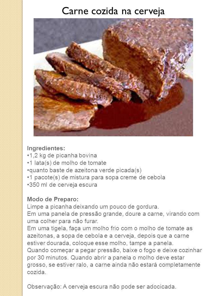 Ingredientes: 1,2 kg de picanha bovina 1 lata(s) de molho de tomate quanto baste de azeitona verde picada(s) 1 pacote(s) de mistura para sopa creme de