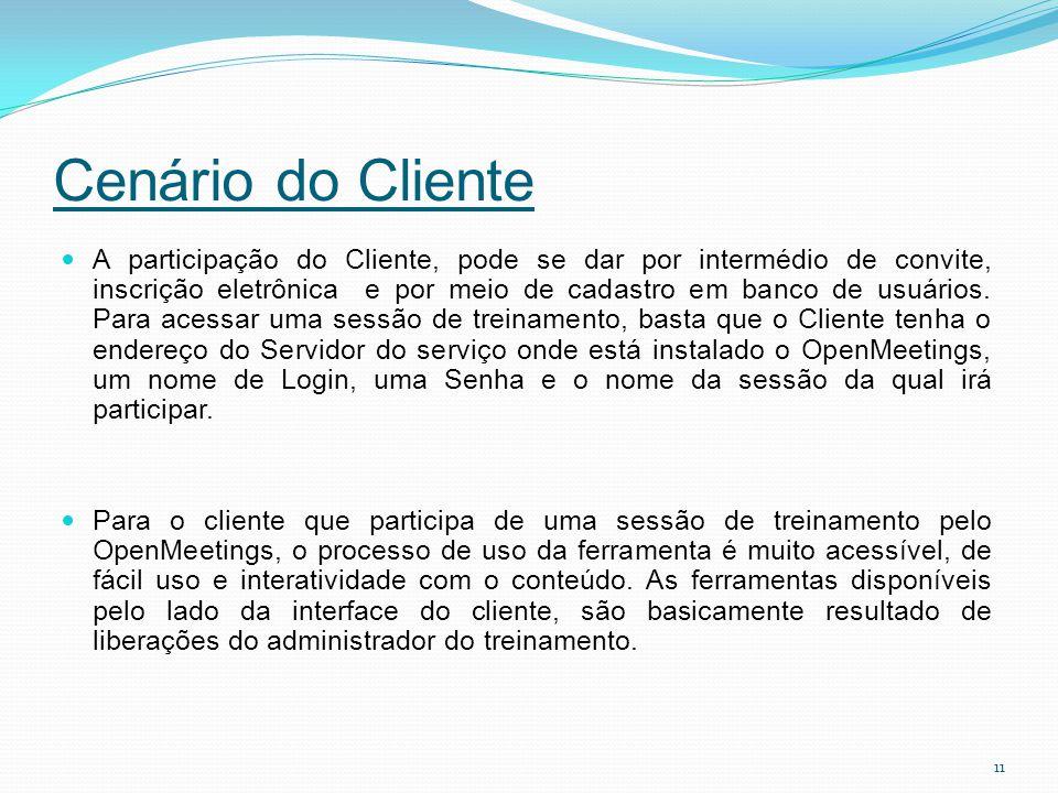 Cenário do Cliente A participação do Cliente, pode se dar por intermédio de convite, inscrição eletrônica e por meio de cadastro em banco de usuários.