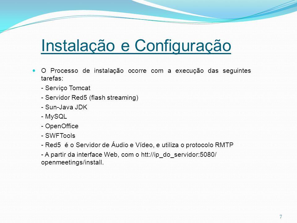 7 O Processo de instalação ocorre com a execução das seguintes tarefas: - Serviço Tomcat - Servidor Red5 (flash streaming) - Sun-Java JDK - MySQL - Op