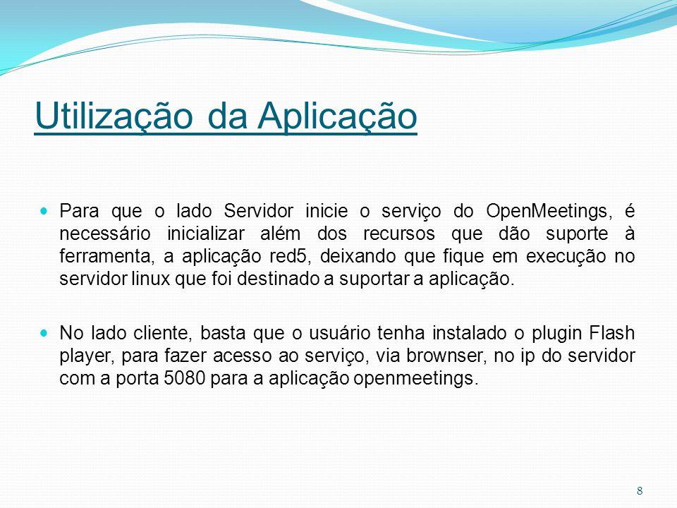 Utilização da Aplicação Para que o lado Servidor inicie o serviço do OpenMeetings, é necessário inicializar além dos recursos que dão suporte à ferram