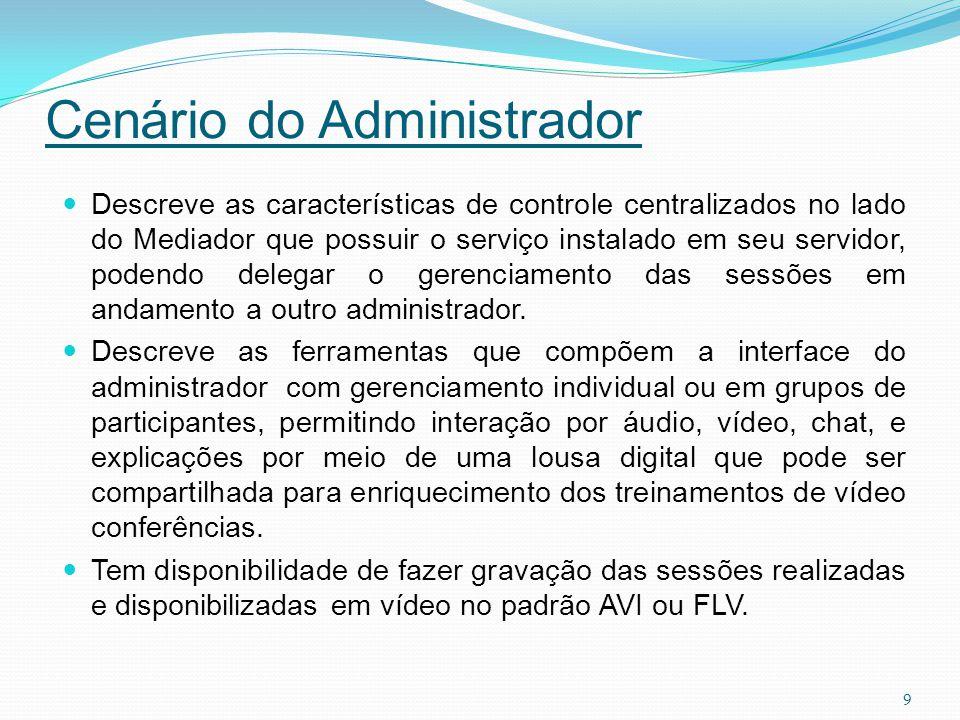 Cenário do Administrador Descreve as características de controle centralizados no lado do Mediador que possuir o serviço instalado em seu servidor, po