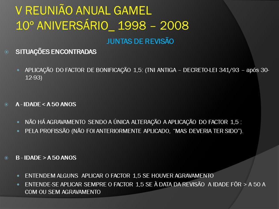 V REUNIÃO ANUAL GAMEL 10º ANIVERSÁRIO_ 1998 – 2008 JUNTAS DE REVISÃO SITUAÇÕES ENCONTRADAS APLICAÇÃO DO FACTOR DE BONIFICAÇÃO 1,5: (TNI ANTIGA – DECRE
