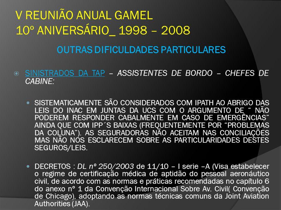 V REUNIÃO ANUAL GAMEL 10º ANIVERSÁRIO_ 1998 – 2008 OUTRAS DIFICULDADES PARTICULARES SINISTRADOS DA TAP – ASSISTENTES DE BORDO – CHEFES DE CABINE: SIST