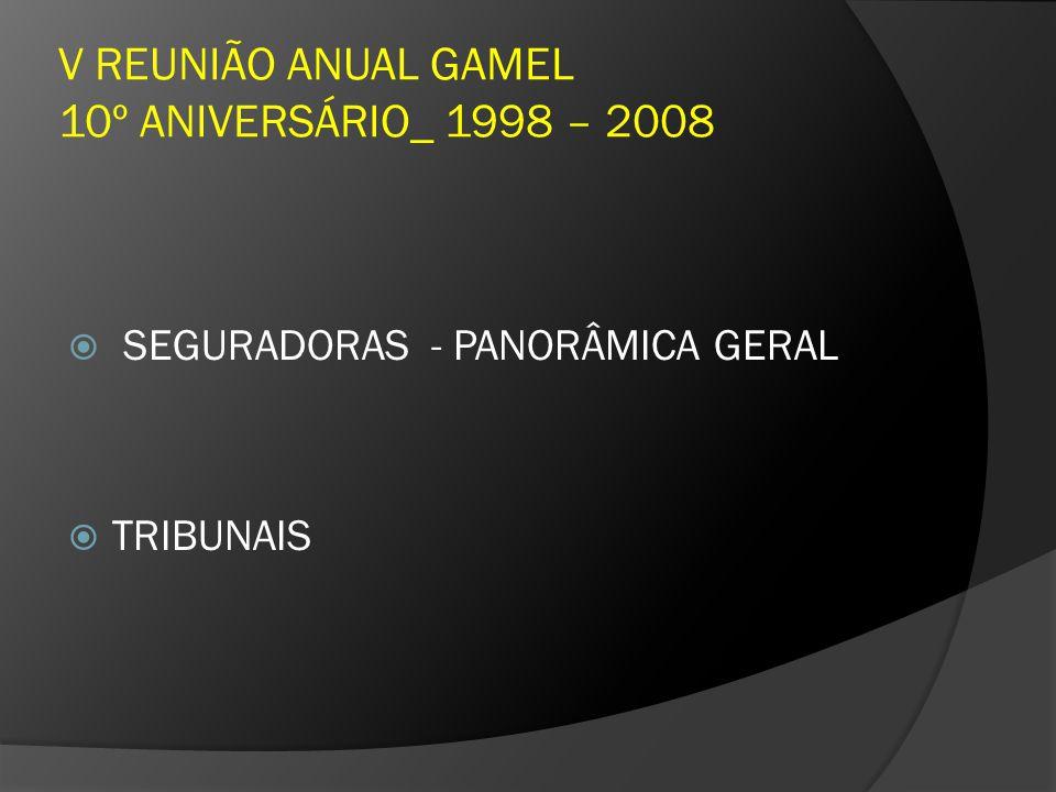 V REUNIÃO ANUAL GAMEL 10º ANIVERSÁRIO_ 1998 – 2008 SEGURADORAS - PANORÂMICA GERAL TRIBUNAIS