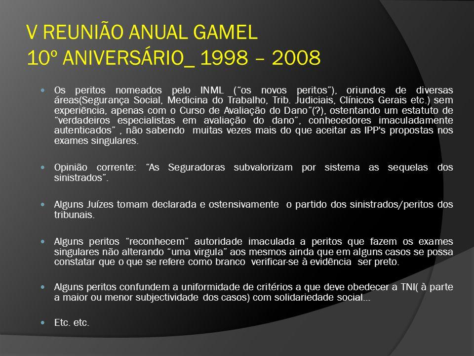 V REUNIÃO ANUAL GAMEL 10º ANIVERSÁRIO_ 1998 – 2008 Os peritos nomeados pelo INML (os novos peritos), oriundos de diversas áreas(Segurança Social, Medi