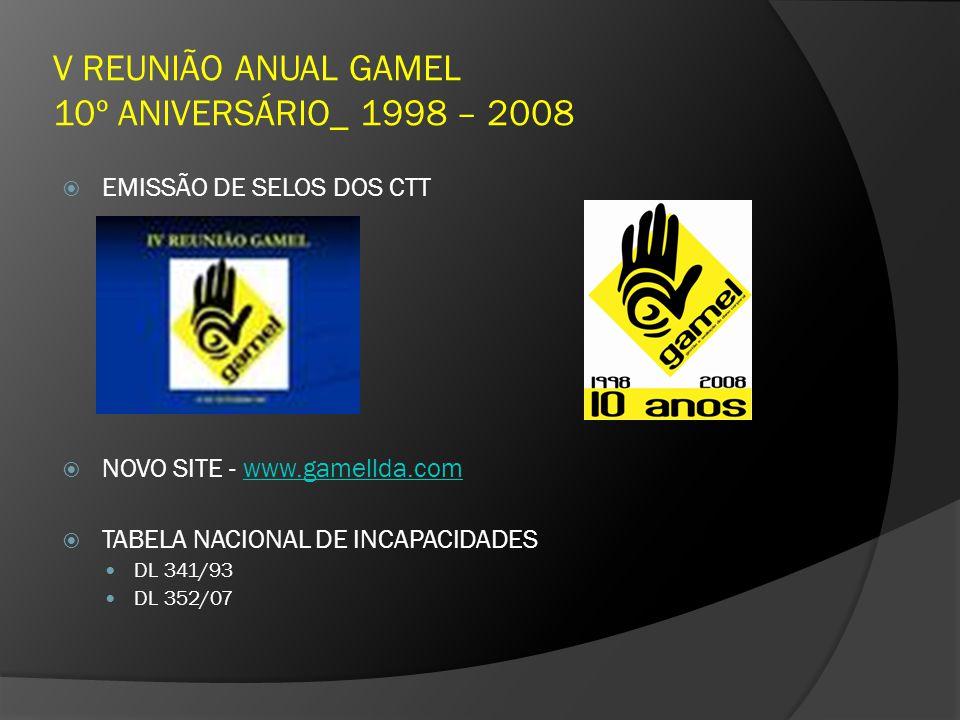V REUNIÃO ANUAL GAMEL 10º ANIVERSÁRIO_ 1998 – 2008 EMISSÃO DE SELOS DOS CTT NOVO SITE - www.gamellda.comwww.gamellda.com TABELA NACIONAL DE INCAPACIDA