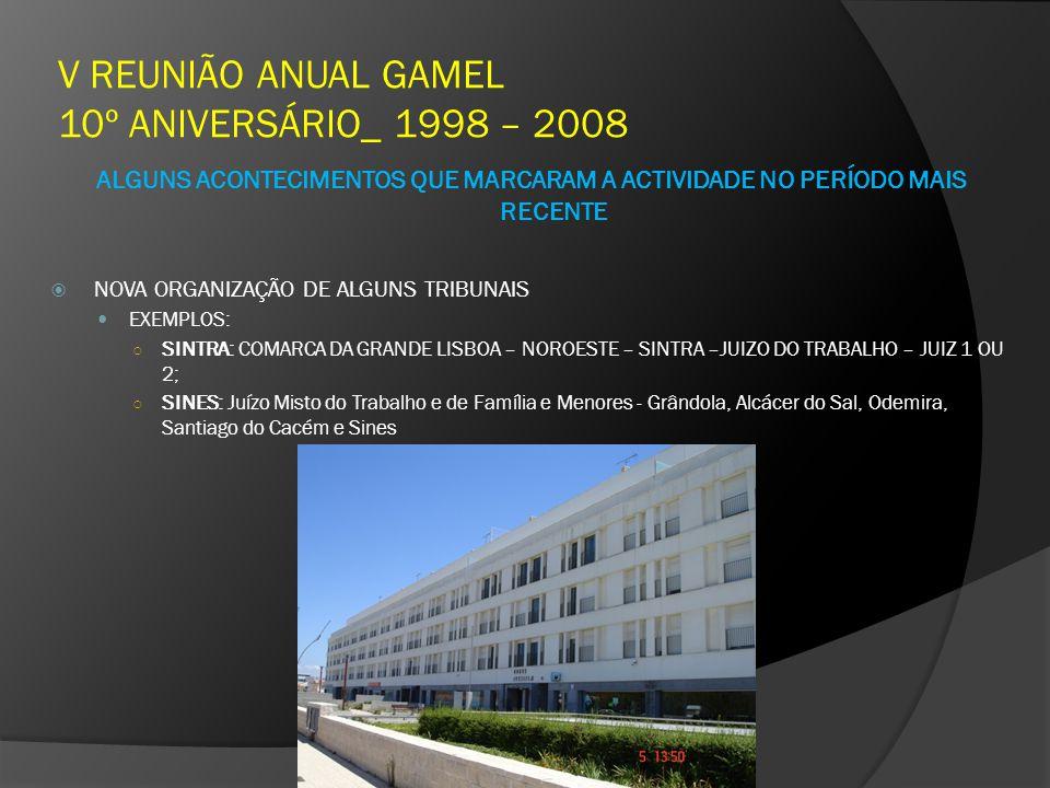 V REUNIÃO ANUAL GAMEL 10º ANIVERSÁRIO_ 1998 – 2008 ALGUNS ACONTECIMENTOS QUE MARCARAM A ACTIVIDADE NO PERÍODO MAIS RECENTE NOVA ORGANIZAÇÃO DE ALGUNS TRIBUNAIS EXEMPLOS: SINTRA: COMARCA DA GRANDE LISBOA – NOROESTE – SINTRA –JUIZO DO TRABALHO – JUIZ 1 OU 2; SINES: Juízo Misto do Trabalho e de Família e Menores - Grândola, Alcácer do Sal, Odemira, Santiago do Cacém e Sines