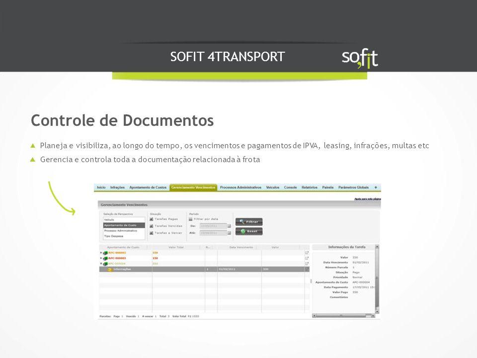 SOFIT 4TRANSPORT Planeja e visibiliza, ao longo do tempo, os vencimentos e pagamentos de IPVA, leasing, infrações, multas etc Gerencia e controla toda a documentação relacionada à frota Controle de Documentos