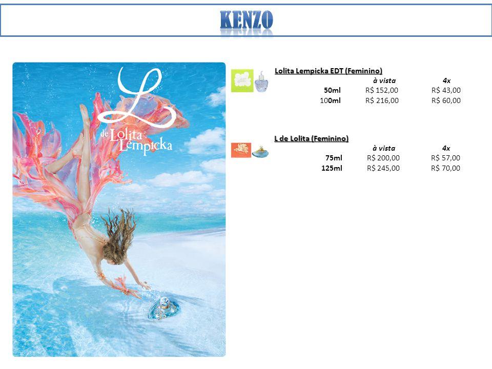 Lolita Lempicka EDT (Feminino) à vista 4x 50ml R$ 152,00 R$ 43,00 100ml R$ 216,00 R$ 60,00 L de Lolita (Feminino) à vista 4x 75ml R$ 200,00 R$ 57,00 125ml R$ 245,00 R$ 70,00