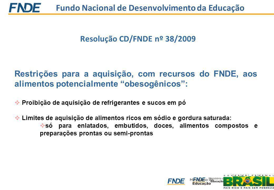 Fundo Nacional de Desenvolvimento da Educação Restrições para a aquisição, com recursos do FNDE, aos alimentos potencialmente obesogênicos: Proibição
