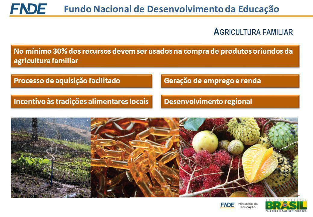 Fundo Nacional de Desenvolvimento da Educação Processo de aquisição facilitado No mínimo 30% dos recursos devem ser usados na compra de produtos oriundos da agricultura familiar Incentivo às tradições alimentares locais Geração de emprego e renda Desenvolvimento regional A GRICULTURA FAMILIAR