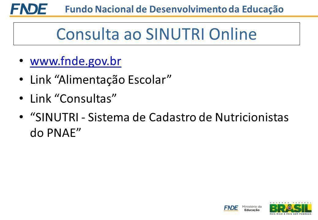 www.fnde.gov.br Link Alimentação Escolar Link Consultas SINUTRI - Sistema de Cadastro de Nutricionistas do PNAE Consulta ao SINUTRI Online