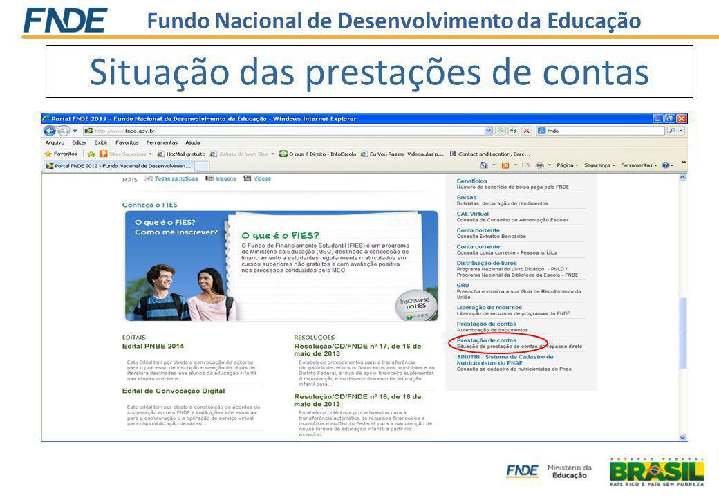 Situação das prestações de contas www.fnde.gov.br Link Alimentação Escolar Link Consultas SINUTRI - Sistema de Cadastro de Nutricionistas do PNAE
