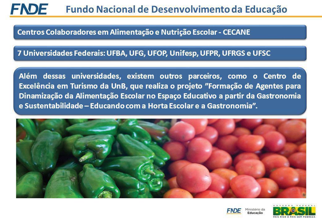Fundo Nacional de Desenvolvimento da Educação Centros Colaboradores em Alimentação e Nutrição Escolar - CECANE 7 Universidades Federais: UFBA, UFG, UFOP, Unifesp, UFPR, UFRGS e UFSC Além dessas universidades, existem outros parceiros, como o Centro de Excelência em Turismo da UnB, que realiza o projeto Formação de Agentes para Dinamização da Alimentação Escolar no Espaço Educativo a partir da Gastronomia e Sustentabilidade – Educando com a Horta Escolar e a Gastronomia.