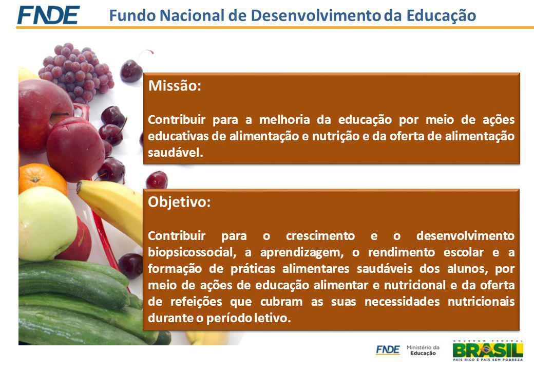 Fundo Nacional de Desenvolvimento da Educação Missão: Contribuir para a melhoria da educação por meio de ações educativas de alimentação e nutrição e da oferta de alimentação saudável.