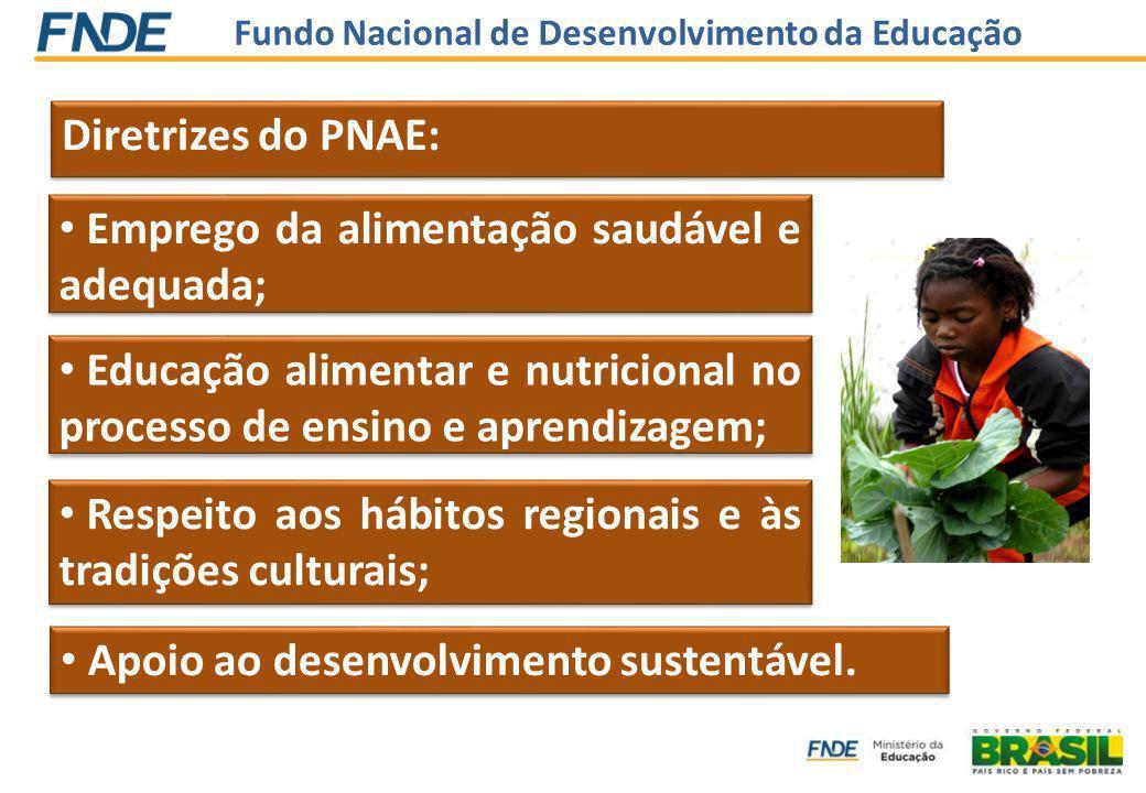 Fundo Nacional de Desenvolvimento da Educação Diretrizes do PNAE: Emprego da alimentação saudável e adequada; Educação alimentar e nutricional no processo de ensino e aprendizagem; Apoio ao desenvolvimento sustentável.