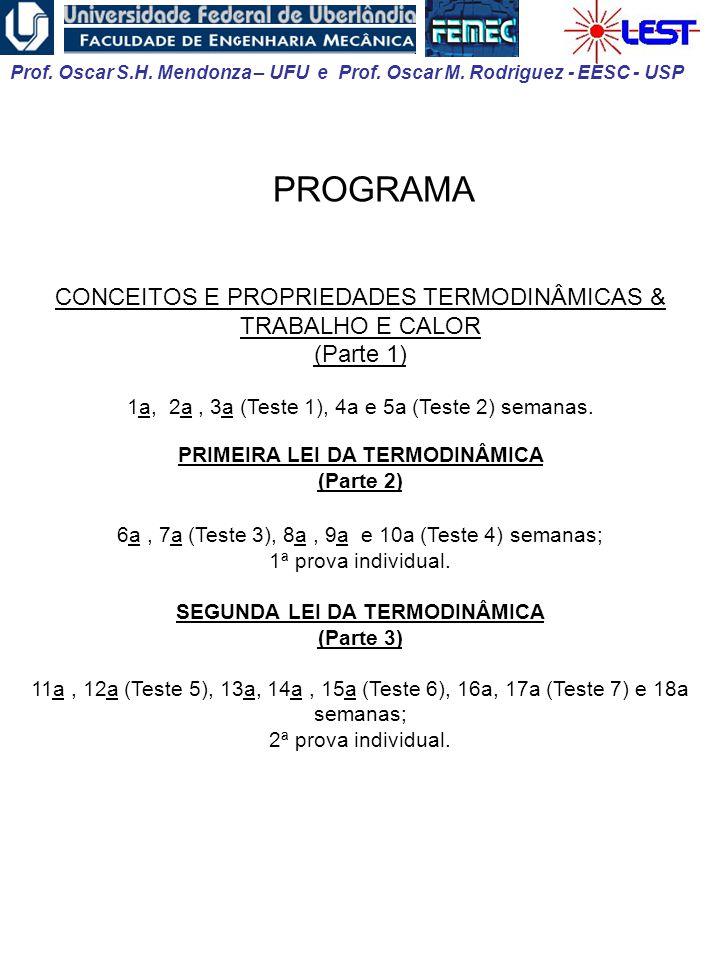 Prof. Oscar S.H. Mendonza – UFU e Prof. Oscar M. Rodriguez - EESC - USP CONCEITOS E PROPRIEDADES TERMODINÂMICAS & TRABALHO E CALOR (Parte 1) 1a, 2a, 3