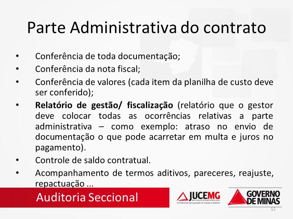 12 Parte Administrativa do contrato Conferência de toda documentação; Conferência da nota fiscal; Conferência de valores (cada item da planilha de cus