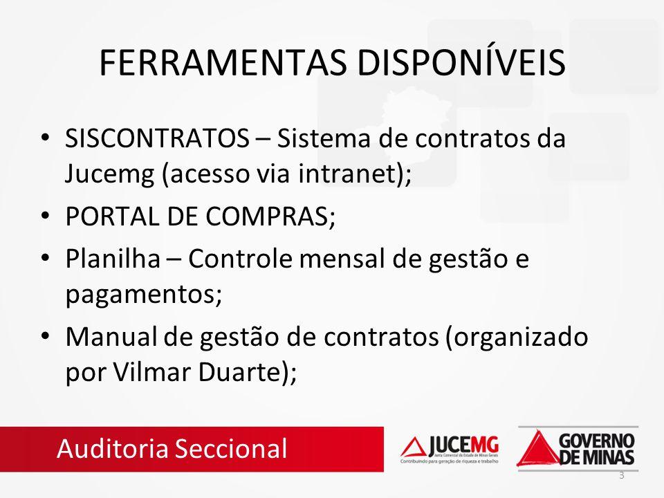 3 FERRAMENTAS DISPONÍVEIS SISCONTRATOS – Sistema de contratos da Jucemg (acesso via intranet); PORTAL DE COMPRAS; Planilha – Controle mensal de gestão