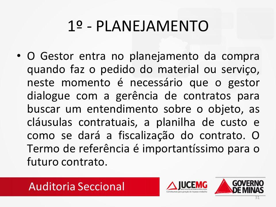 31 1º - PLANEJAMENTO O Gestor entra no planejamento da compra quando faz o pedido do material ou serviço, neste momento é necessário que o gestor dial