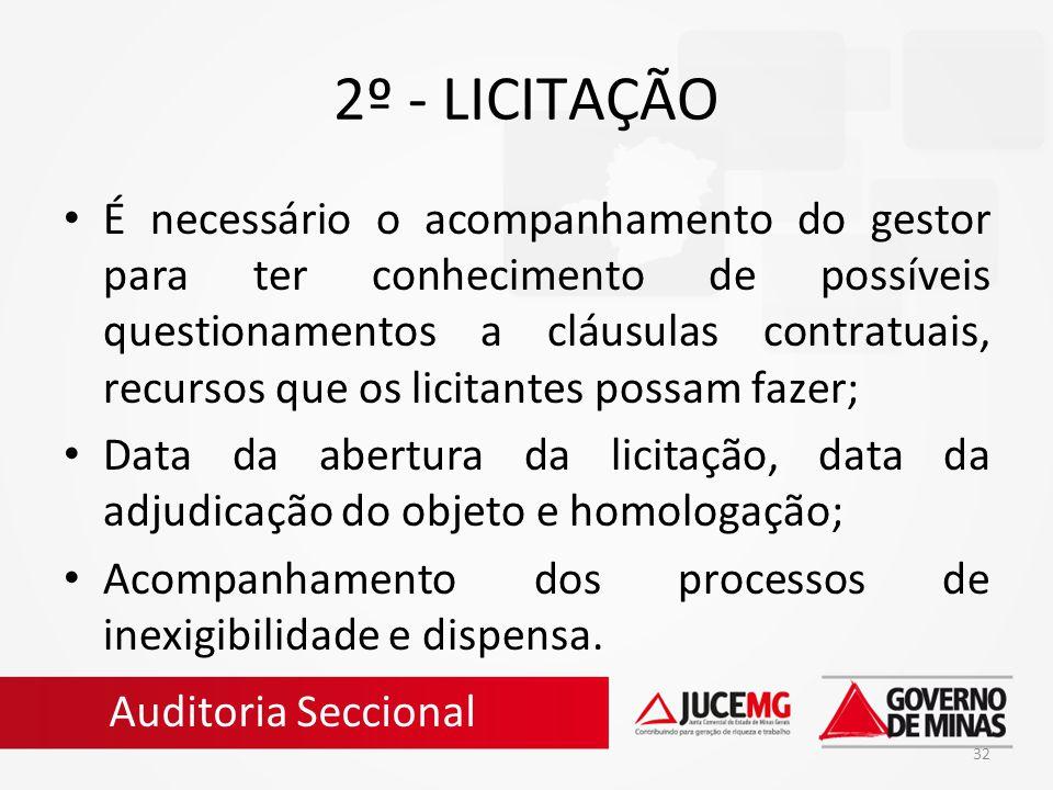 32 2º - LICITAÇÃO É necessário o acompanhamento do gestor para ter conhecimento de possíveis questionamentos a cláusulas contratuais, recursos que os
