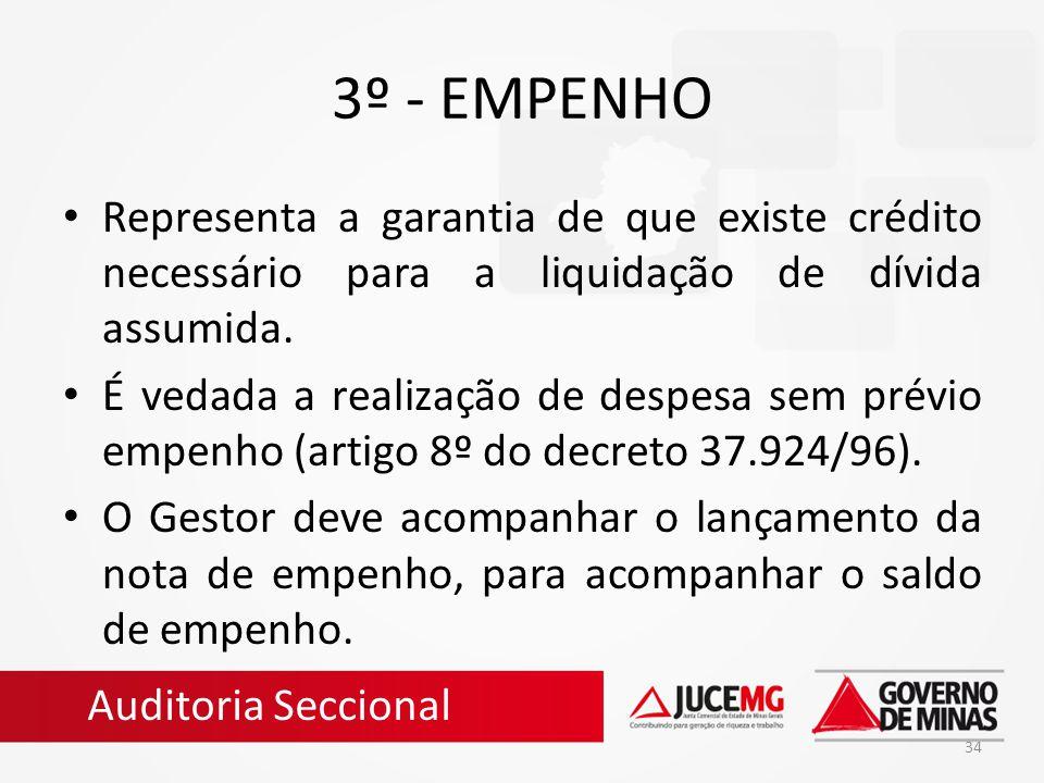 34 3º - EMPENHO Representa a garantia de que existe crédito necessário para a liquidação de dívida assumida. É vedada a realização de despesa sem prév