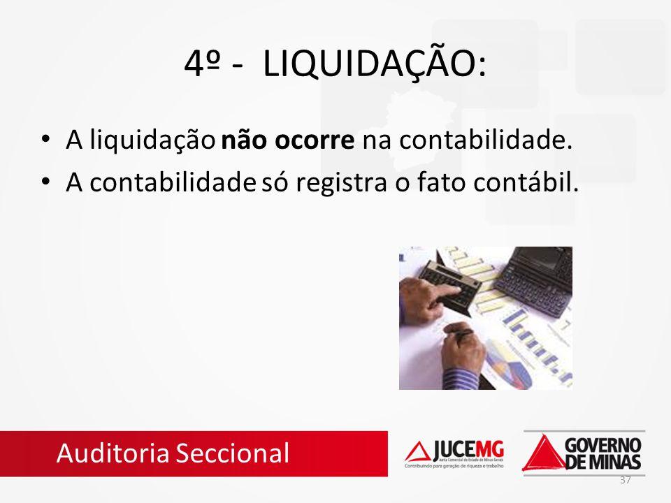 37 4º - LIQUIDAÇÃO: A liquidação não ocorre na contabilidade. A contabilidade só registra o fato contábil. Auditoria Seccional