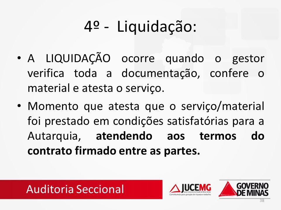 38 4º - Liquidação: A LIQUIDAÇÃO ocorre quando o gestor verifica toda a documentação, confere o material e atesta o serviço. Momento que atesta que o