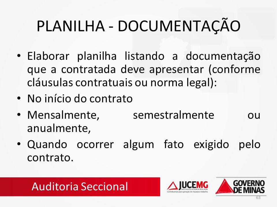 63 PLANILHA - DOCUMENTAÇÃO Elaborar planilha listando a documentação que a contratada deve apresentar (conforme cláusulas contratuais ou norma legal):
