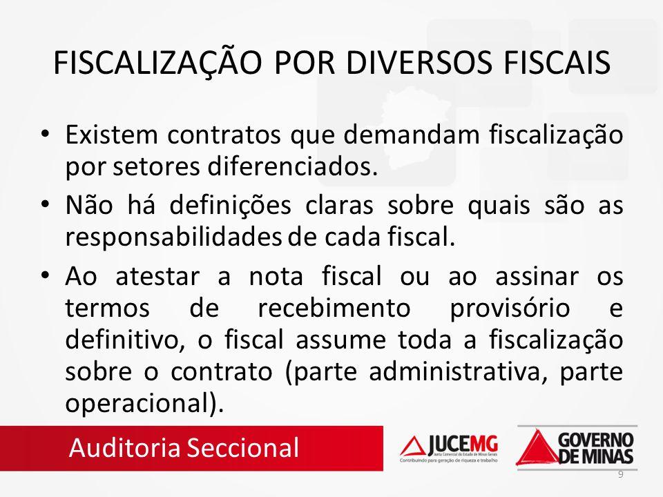 9 FISCALIZAÇÃO POR DIVERSOS FISCAIS Existem contratos que demandam fiscalização por setores diferenciados. Não há definições claras sobre quais são as
