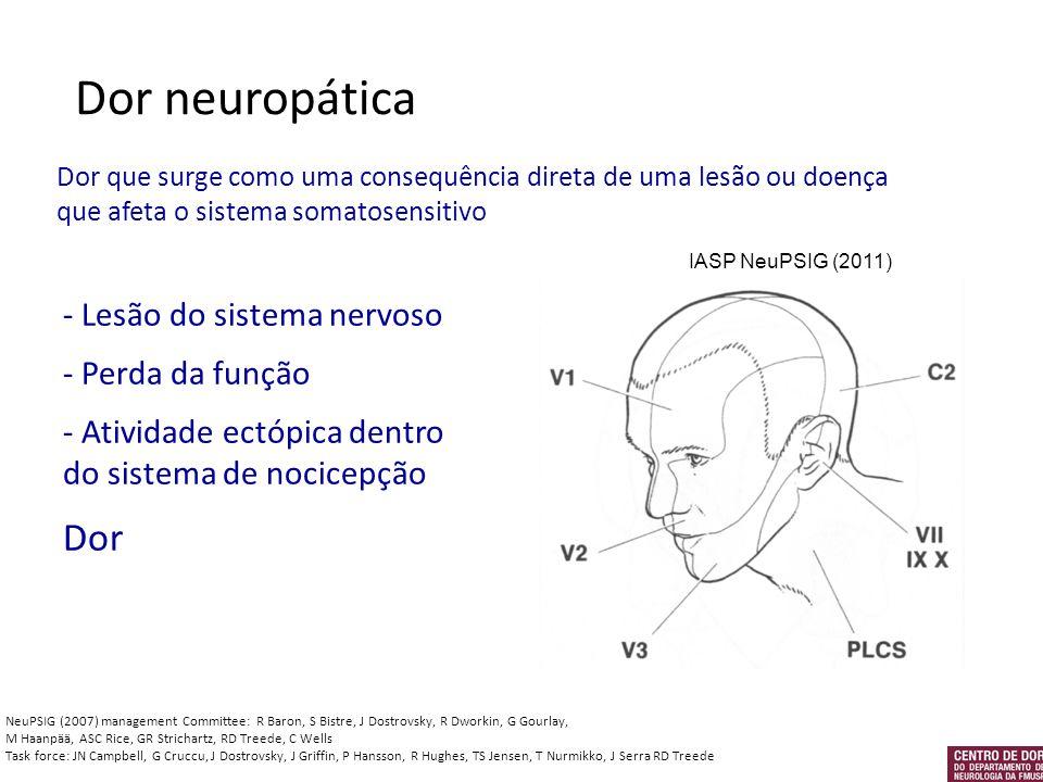 Dor neuropática Dor que surge como uma consequência direta de uma lesão ou doença que afeta o sistema somatosensitivo - Lesão do sistema nervoso - Per