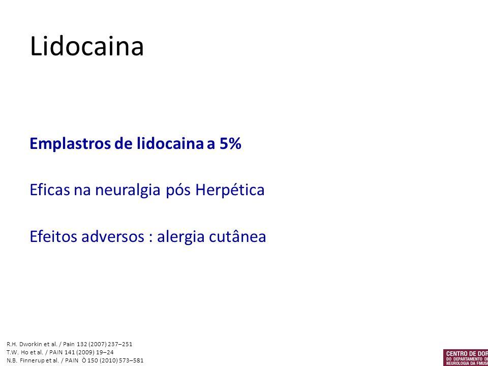 Lidocaina Emplastros de lidocaina a 5% Eficas na neuralgia pós Herpética Efeitos adversos : alergia cutânea R.H. Dworkin et al. / Pain 132 (2007) 237–