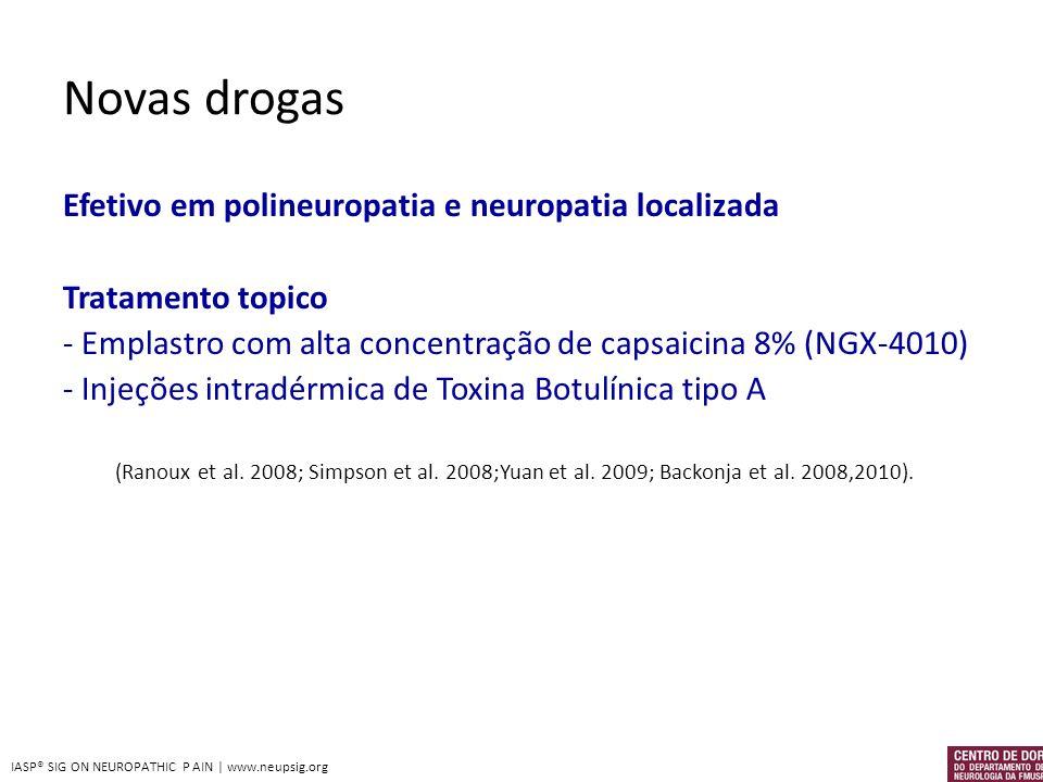 Novas drogas Efetivo em polineuropatia e neuropatia localizada Tratamento topico - Emplastro com alta concentração de capsaicina 8% (NGX-4010) - Injeç