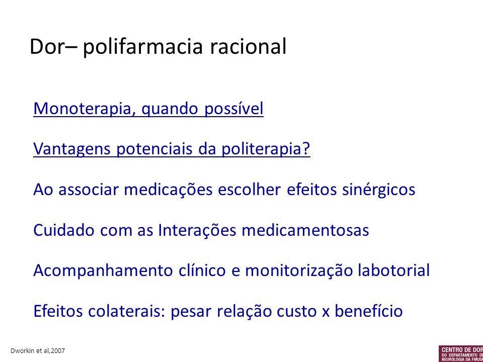 Dor– polifarmacia racional Monoterapia, quando possível Vantagens potenciais da politerapia? Ao associar medicações escolher efeitos sinérgicos Cuidad